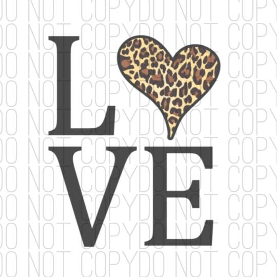 Love With leopard Print Heart Digital Design
