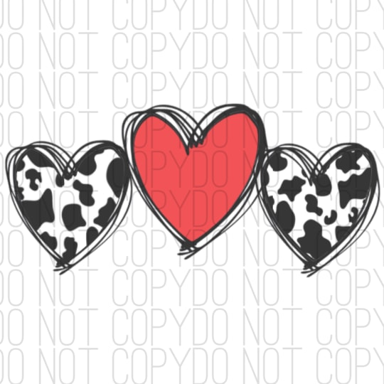 Hearts With Cow Print