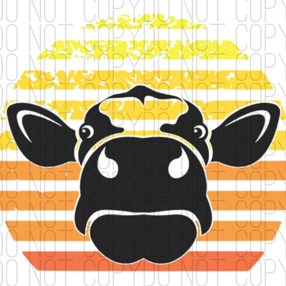 cow vintage sunset digital design print and cut