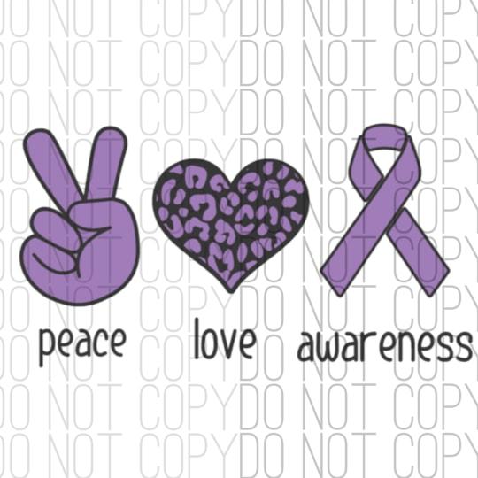 Peace Love Awareness Digital Design Print and Cut