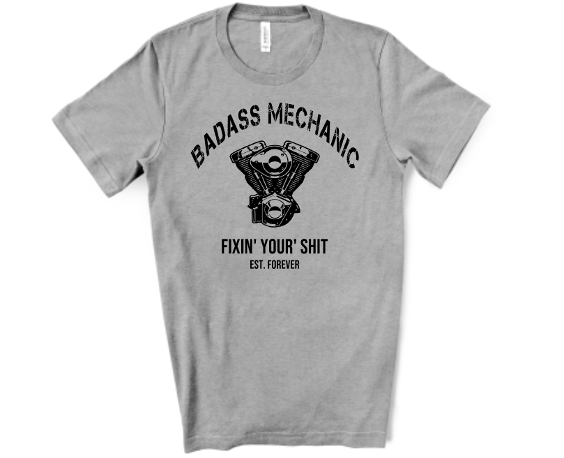 Badass Mechanic screen print transfer