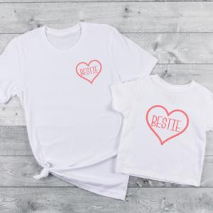Bestie Pink Screen Print Transfer T-Shirt Mockup
