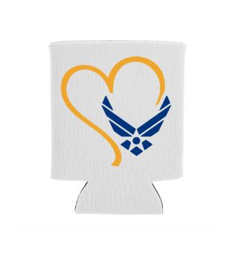 Airforce Heart Screen Print Transfer White Koozie