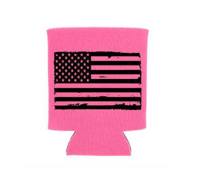 flag koozie pocket sized pink koo