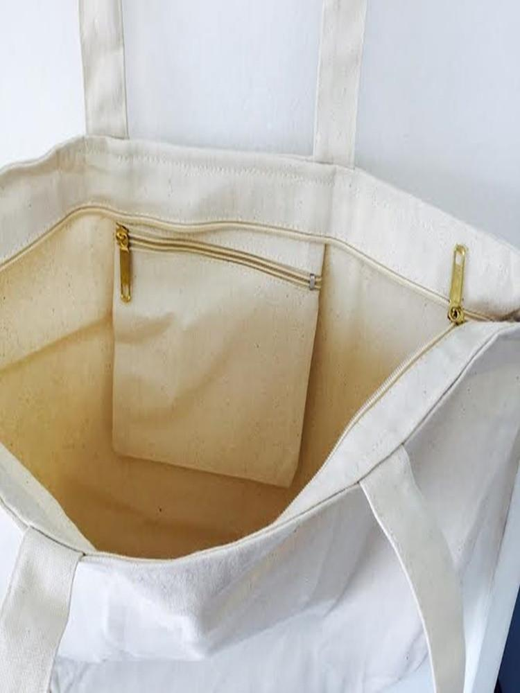 Zipper Tote Bag Inside Zipper Pocket