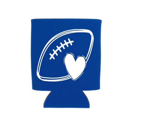 footbal heart koozie