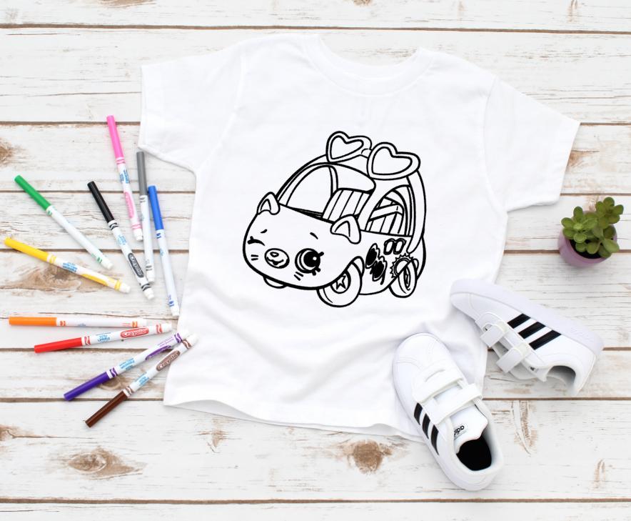 girl cat car coloring