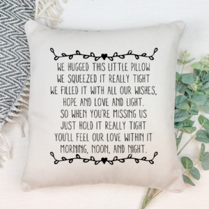 WE HUGGED THIS PILLOW