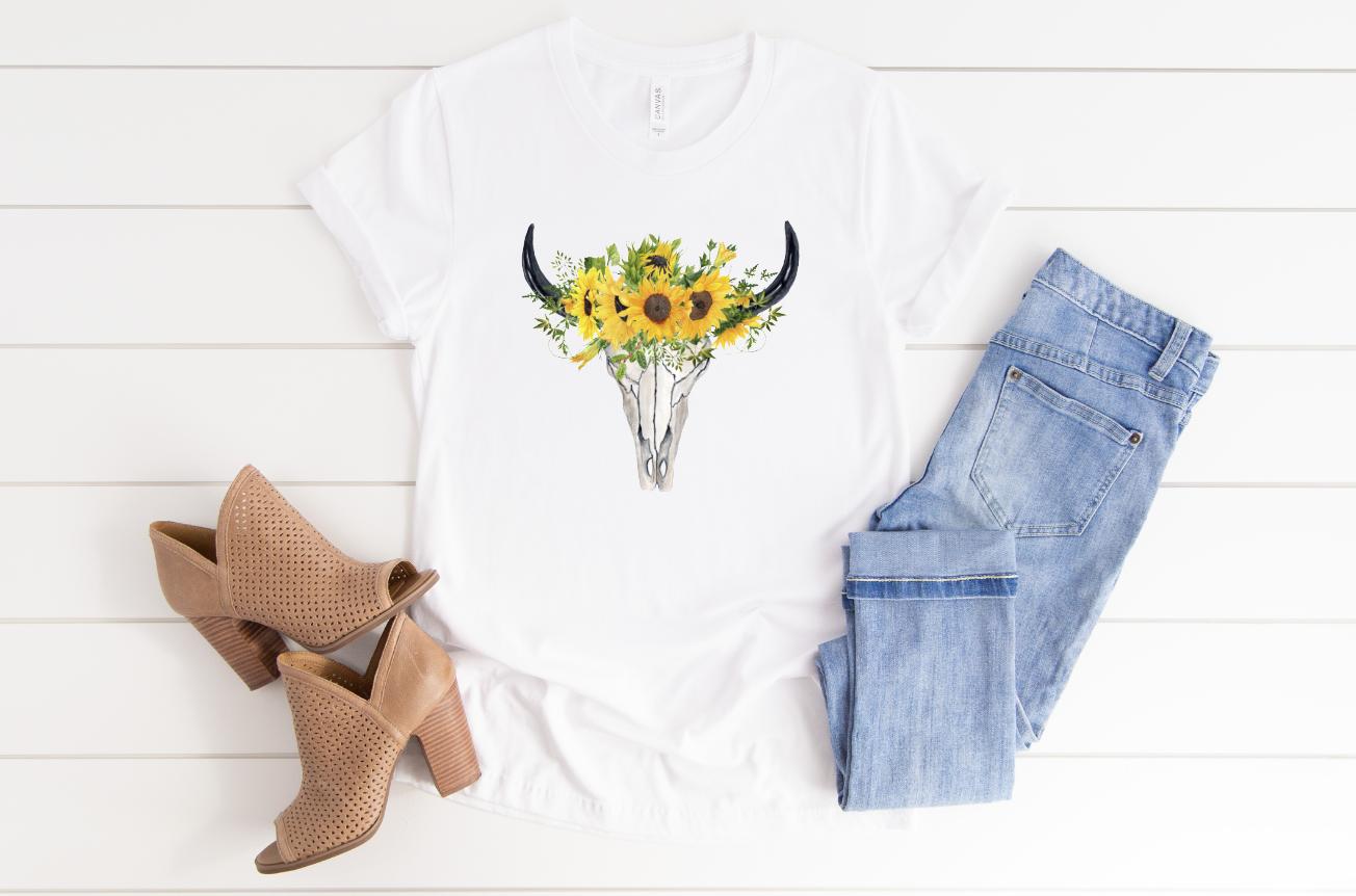 boho sunflower longhorn