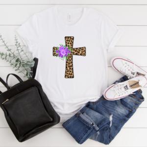 leopard floral cross