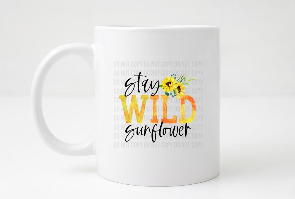 stay wild sunflower coffee mug