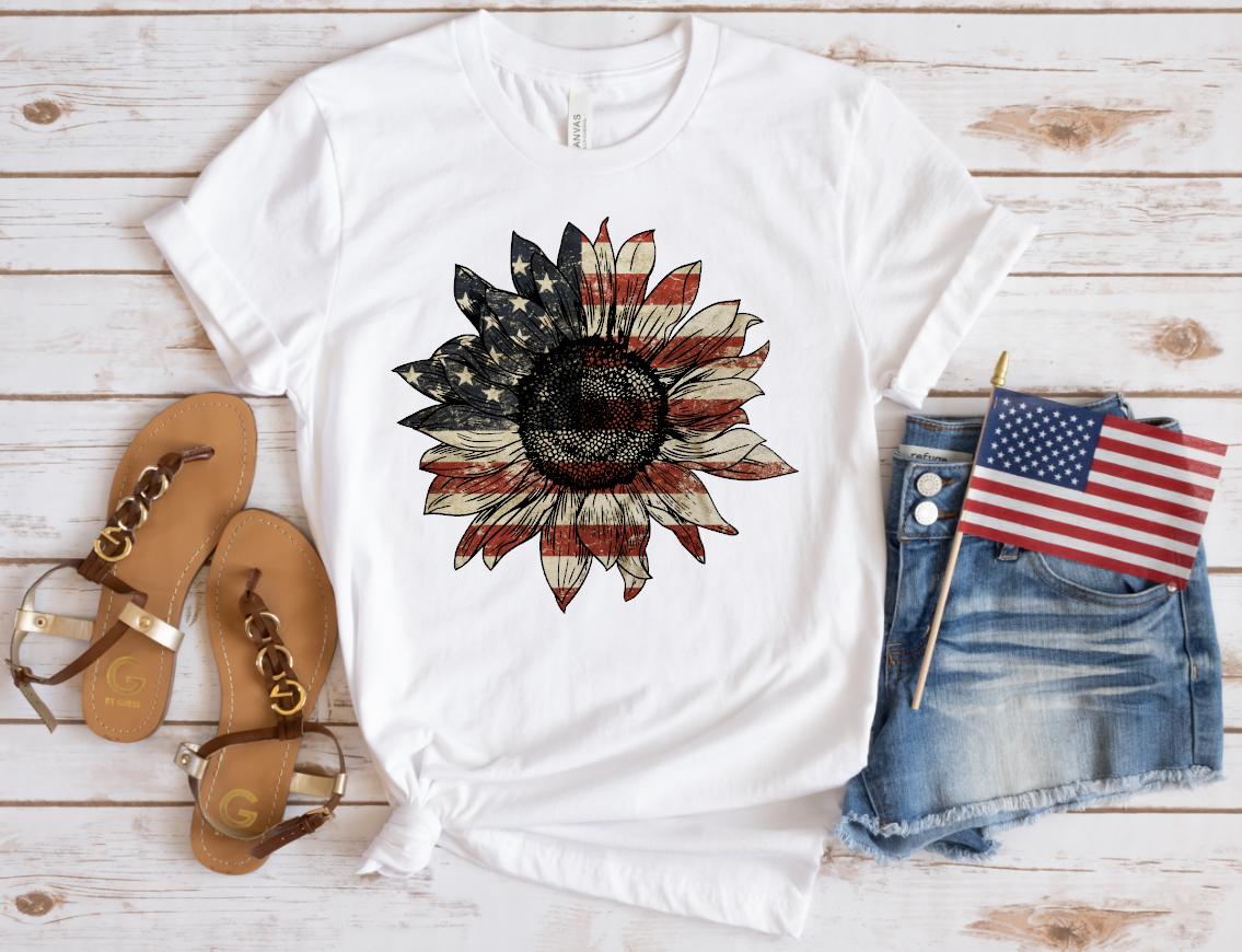 vintage patriotic sunflower