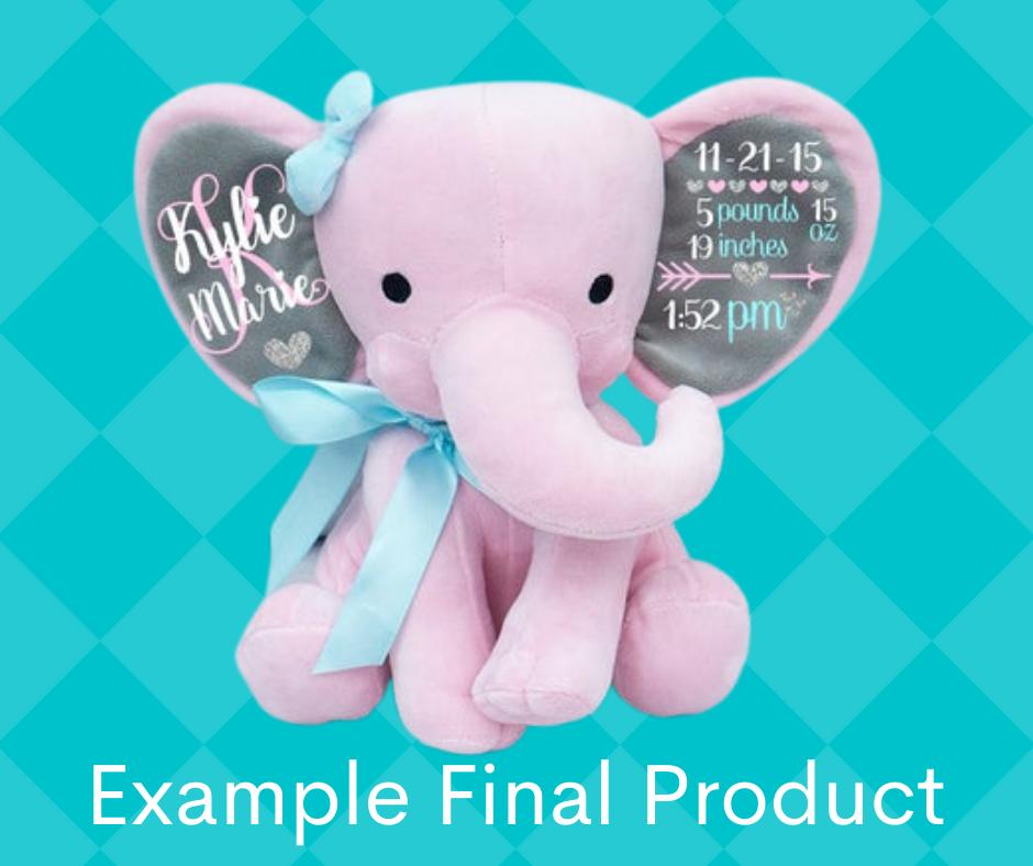 Girl Birth Announcement Stuffed Elephant