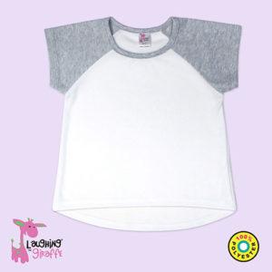 Toddler Short Sleeve Raglan High Low Heather Gray