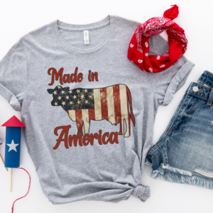 made in america vintage flag cow