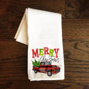 merry xmas truck tea towel